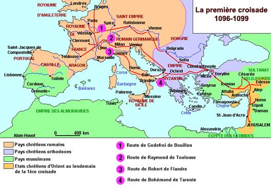 HISTOIRE ABRÉGÉE DE L'ÉGLISE - PAR M. LHOMOND – France - 1818 - DEUXIEME PARTIE ( Images et Cartes) CarteHouotCroisade_1
