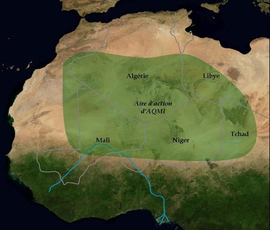 Zone d'action de l'Aqmi au Sahara en 2012 (carte : Vincent Boqueho, pour Herodote.net)