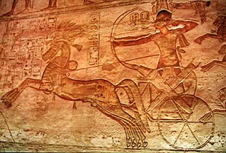 Ramsès II à la bataille de Qadesh (d'après un bas-relief du temple d'Abou Simbel)