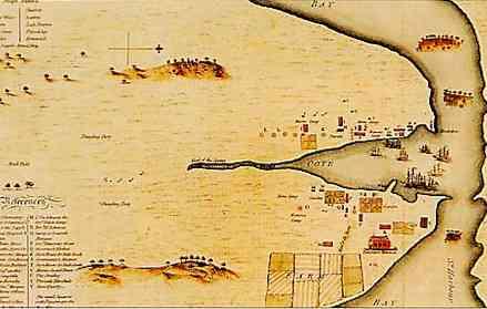 Port-Jackson et les bateaux de la 1ère Flotte, dessin d'un convict