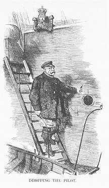 Guillaume II renvoie Bismarck (1890), caricature de Punch