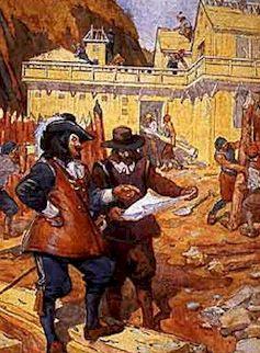 Champlain surveillant la construction de l'Abitation, aquarelle de Jefferys, Charles William (1869 - 1951)