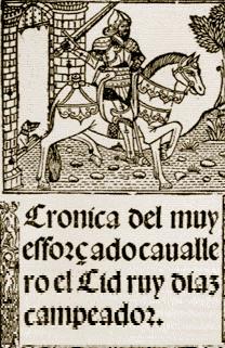 frontispice de la Crónica del famoso cavallero Cid Ruy Diaz Campeador (XVIe siècle)