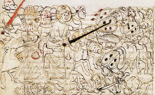 Le cadavre du Cid participe à une bataille aux côtés de saint Jacques, Chronique d'Alphonse X (1429)