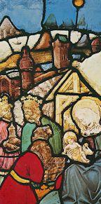 L'Adoration des Mages, vitrail de la cathédrale d'Ulm (Allemagne), XVe siècle
