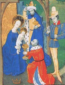 L'Adoration des Mages, miniature française (collection moscovite), XVe siècle