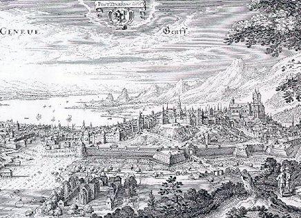 Genève à la finduXVIe siècle, par MatthieuMérian (1642), d'après ClaudeChastillon