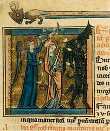 Sainte Geneviève, miniature du XIIIe siècle (CHAN)