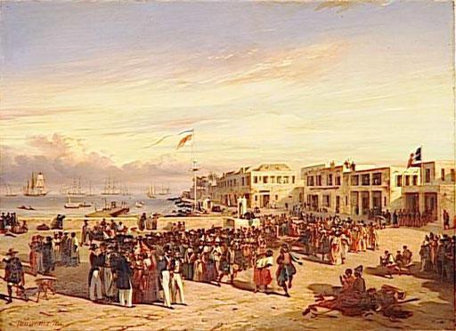 LE PRINCE DE JOINVILLE ASSISTANT A UNE DANSE NEGRE A L'ILE DE GOREE (SENEGAL) .DECEMBRE 1842 (Auguste Nousveaux, 1846, musée de Versailles)