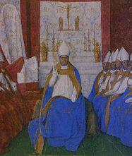 Saint  Hilaire au concile du pape Léon, par Jean Fouquet (vers 1455), enluminure du musée de Chantilly