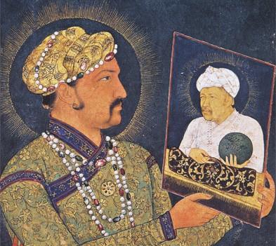 Jahangir devant le portrait de son père Akbar, miniature moghole du XVIIe siècle (musée Guimet, Paris)