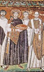 Justinien et sa cour, mosaïque de l'église San Vitale, Ravenne