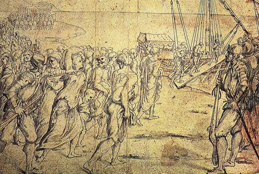 Le départ des Morisques (gravure d'époque, Vicente Carducho, Musée du Prado)