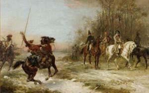 Gourgaud et Napoléon à Brienne-le-Château, le 29 janvier 1814, sous la menace d'un Cosaque (Robert-Alexander Hilingford, 1891)