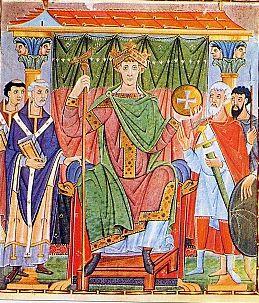 OttonIII sur son tr(miniature du Xe siècle)