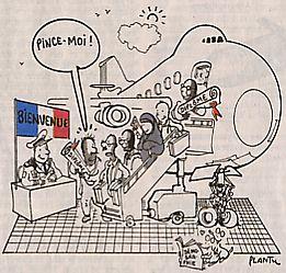Europe et immigration (dessin de Plantu dans Le Monde, 8 novembre 2003)