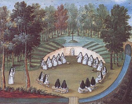 La conférence des religieuses dans la Solitude (peinture française du XVIIIe siècle)
