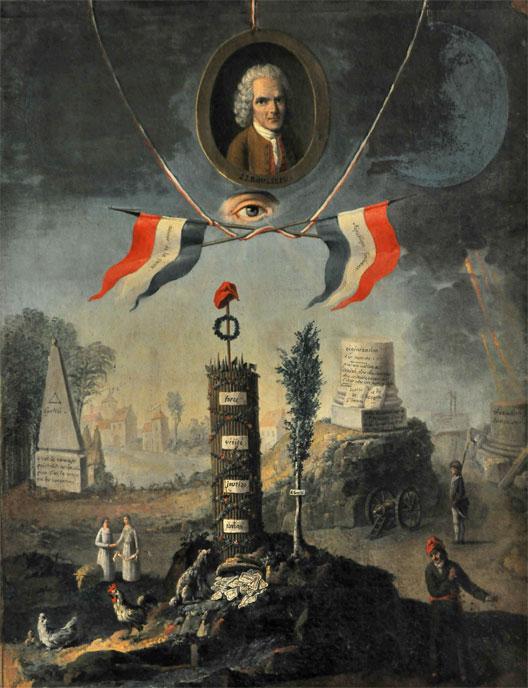 Gravure révolutionnaire à la gloire de Jean-Jacques Rousseau (musée Carnavalet, Paris, photo : Bertrand Runtz)