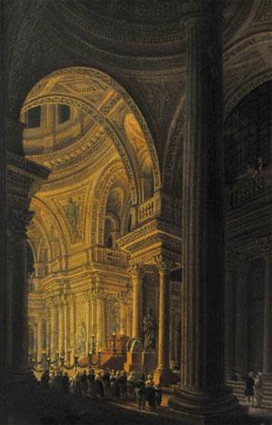 Le sarcophage de Rousseau exposé au Panthéon, 11 octobre 1794 (tableau de Pierre-Antoine Demachy, musée Carnavalet, photo: Bertrand Runtz © Herodote.net)