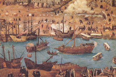 Séville au XVIe siècle, détail d'un tableau de Alonzo Sanchez Coello