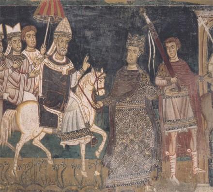 L'empereur Constantin guide le pape Sylvestre 1er