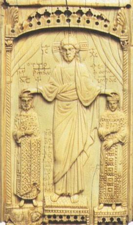 Le mariage du futur Otton II et de Theophano (dos de reliure en ivoire du Xe siècle, musée de Cluny, Paris)