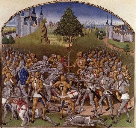 Le combat des Trente (enluminure, Lettre aux armes d'Hélène de Laval, vers 1480, BNF)