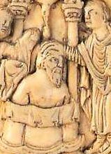 Le baptême de Clovis par Rémi (plaque de reliure  en ivoire du IXe siècle)