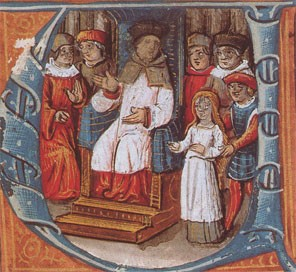 Jeanne devant ses juges (lettrine d'un manuscrit du XVe siècle, BNF)