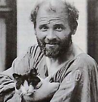 Gustav Klimt en 1912, avec ses chats