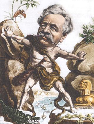 Ferdinand de Lesseps et le canal de Suez, caricature de Carjat