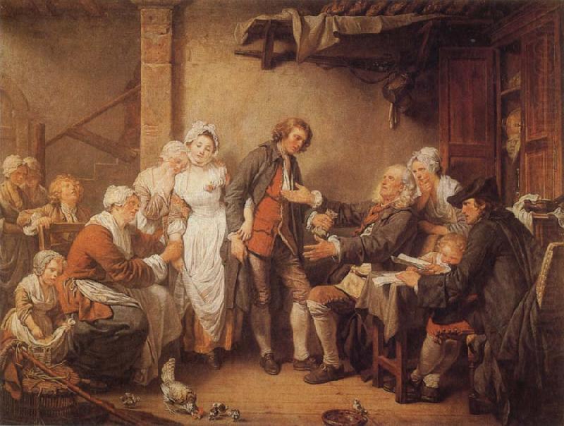 L'accordée de village ou la signature du contrat (Greuze, 1761, musée du Louvre)