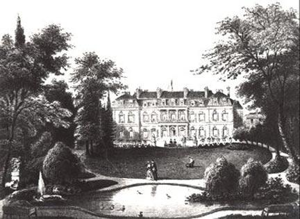 L'hôtel de l'Élysée vu du parc en 1848