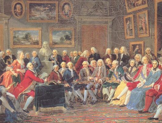 Le salon de Mme Geoffrin (assise à droite, en robe grise), par Lemonnier (musée de la Malmaison, Rueil-Malmaison)
