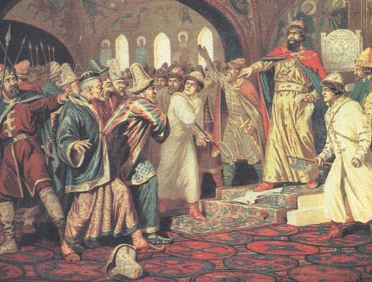 1480 : Ivan III déchire la lettre d'allégeance présentée par les émissaires mongols (Alexis Kivshenko, 1879)