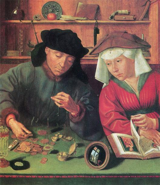 Le changeur et sa femme, par Quentin Metsys (né à Louvain en 1466- mort à Anvers le 14 septembre 1530)