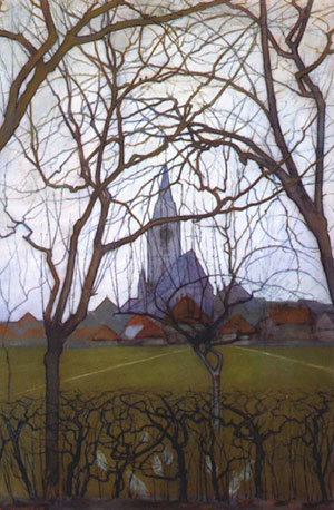 Pietr Mondrian, L'Église du village, 1898, collection privée