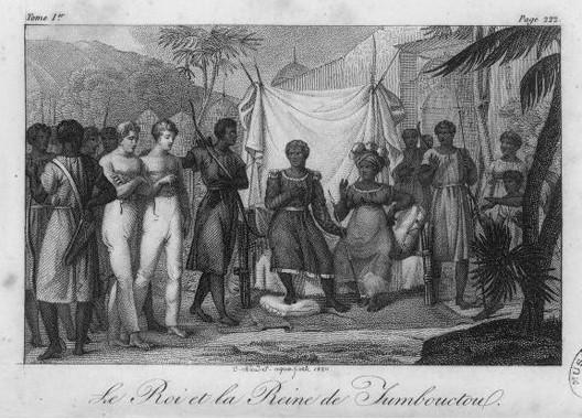 Roi et reine de Tombouctou, gravure de Naudet in Jacques Maccarthy, Choix de voyages dans les quatre parties du monde, 1823, BNF, Paris