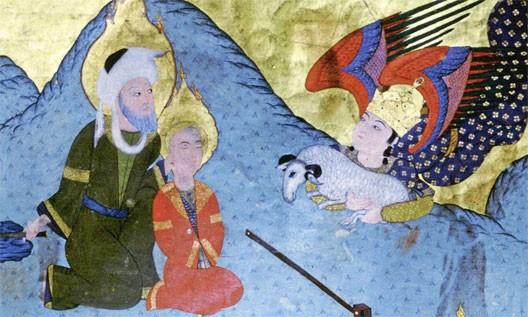 Le sacrifice d'Abraham, miniature persane illustrant La fine fleur des Histoires, par Louqman (1583, musée d'art islamique d'Istanbul), DR