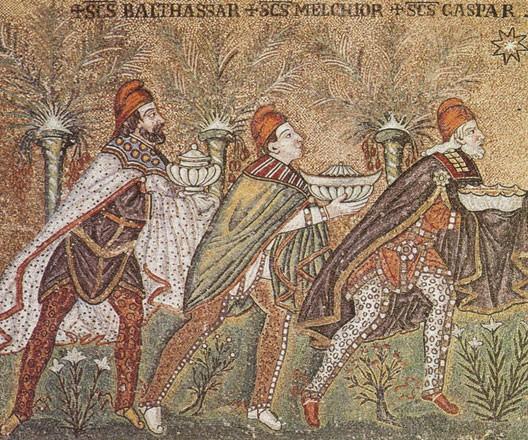 Les rois mages, mosaïque de Sant'Apollinare Nuovo, Ravenne, Ve siècle