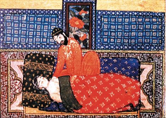 Médecin prenant le pouls d'une jeune fille, Bagdad, 1343 (Le Caire, BN)