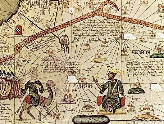 Abraham Cresques, Atlas catalan (avec représentation de Kanga Moussa sur son trône), 1375, BNF, Paris