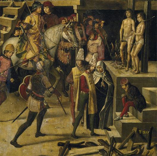 Autodafé (Pedro Berruguete, 1475, détail du tableau :  Saint Dominique préside un autodafe, musée du Prado)