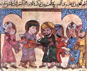 Avicenne entouré de ses élèves, miniature illustrant un ouvrage de médecine, Bibliothèque ambrosienne de Milan