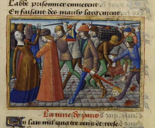 La révolte des cabochiens, par Martial d'Auvergne, enluminure, XVe siècle, Vigiles de Charles VII, Paris