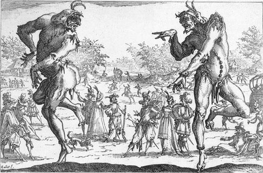 Les deux Pantalons, gravure de Jacques Callot (XVIIe siècle)