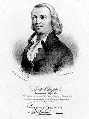 Claude Chappe (Brûlon, Sarthe, 25 décembre 1763 - Paris, 23 janvier 1805)