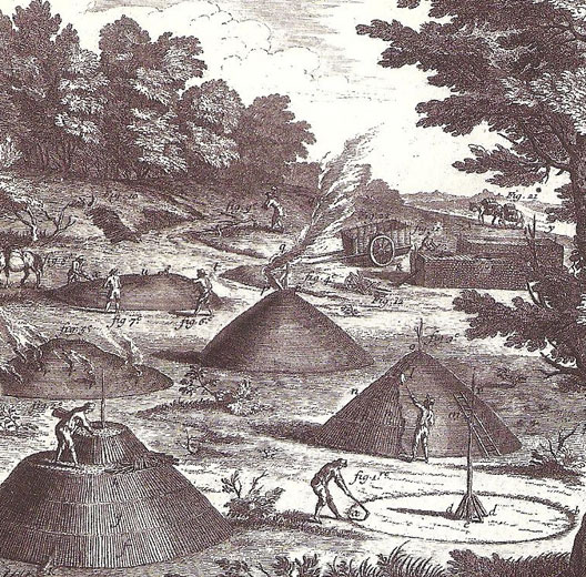 La fabrication du charbon de bois (gravure, XVIIIe siècle)