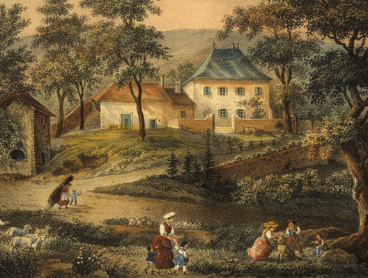 Les Charmettes, près de Chambéry, vers 1830