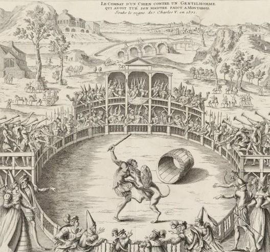 Jacques Androuet Du Cerceau, Le combat d'un chien contre un gentilhomme qui avoit tué son maître, faict à Montargis sous le règne de Charles V en 1371, XVIe s., Paris, BnF